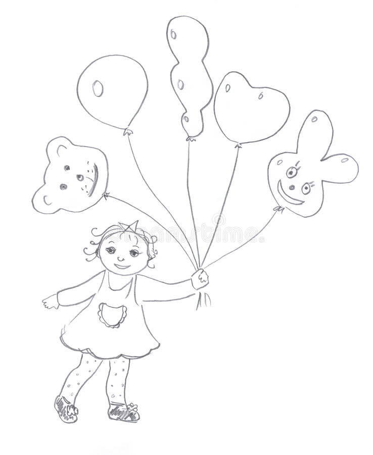 Download Kid With Air Balloons Sketch Stock Illustration - Image: 12661840