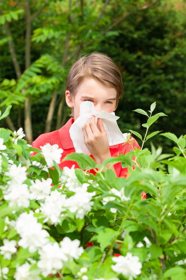 Kid with allergic rhinitis in a spring garden. Teen boy with hay fever blowing his nose allergic to bloom flowers in a spring garden stock photography