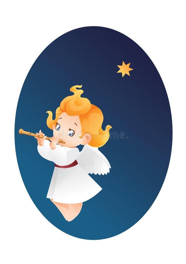 Free Kid Angel Musician Flutis, Flautist Flying On A Night Sky Making Royalty Free Stock Image - 99916476