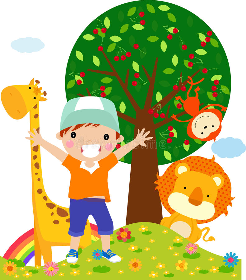 Kid and animal vector illustration