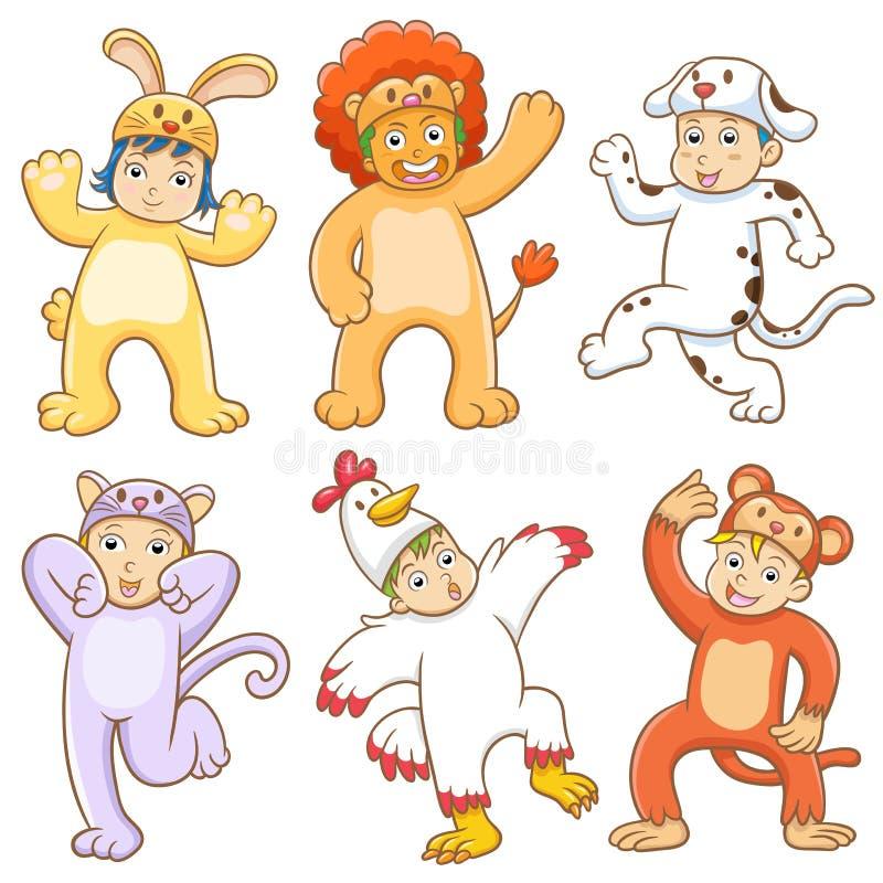 Kid with animals costume. stock illustration