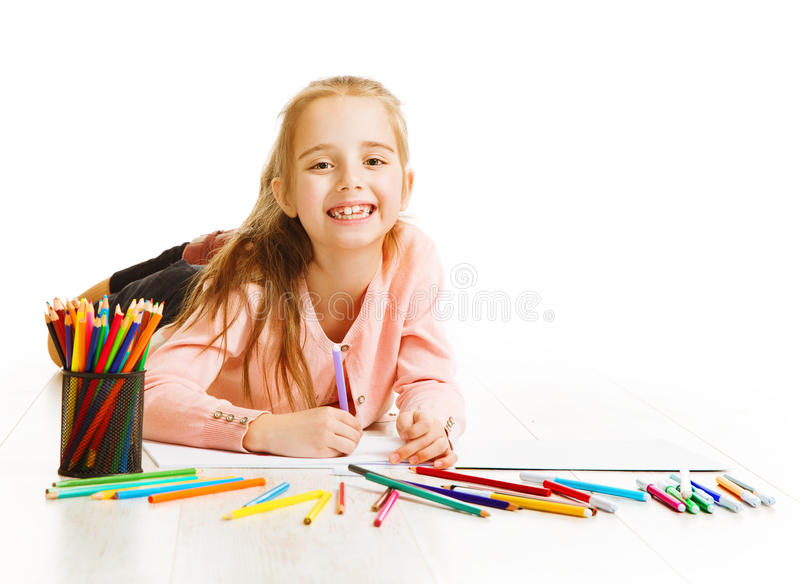 Kid Artist Drawing Color Pencils, Smiling Child Girl Imagination. Kid Artist Drawing Color Pencils, Smiling Child Imagination, Little Girl Lying on White royalty free stock photo