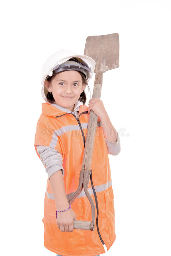 Kid as construction worker isolated on white royalty free stock photos