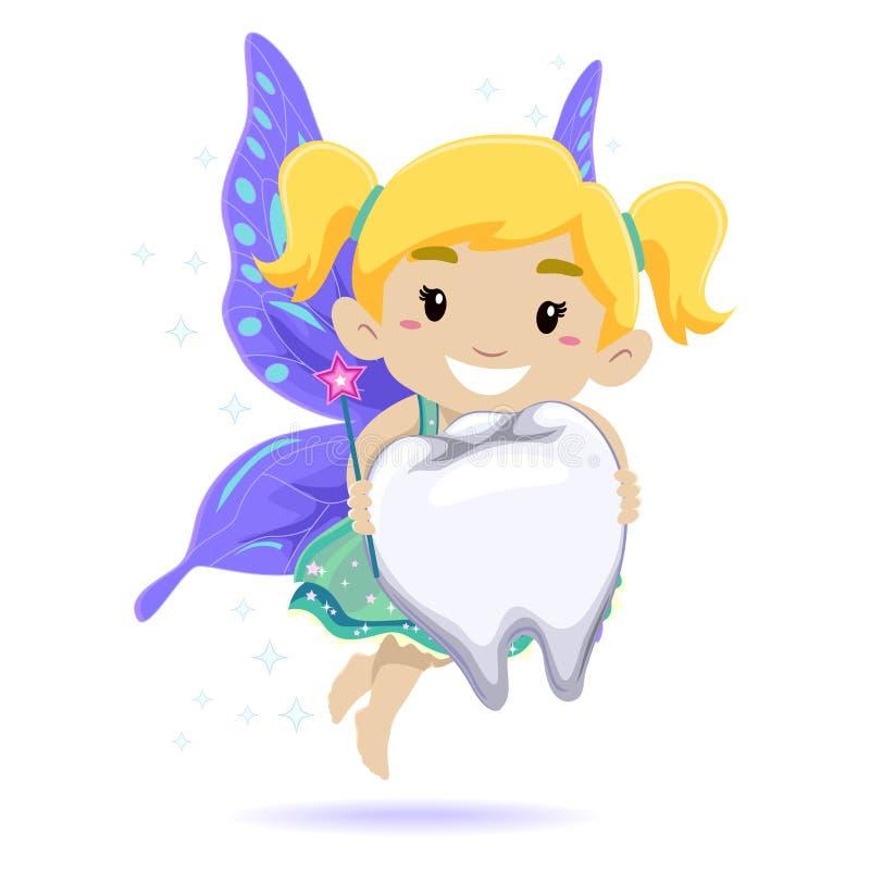 Kid as a Tooth Fairy vector illustration