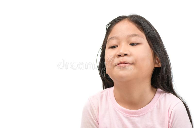 Kid Asian girl face expression envy, jealous isolated stock images