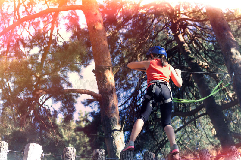 Kid athlete. Belay climbing outfit royalty free stock image