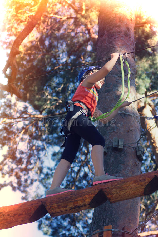 Kid athlete. Belay climbing outfit royalty free stock photos