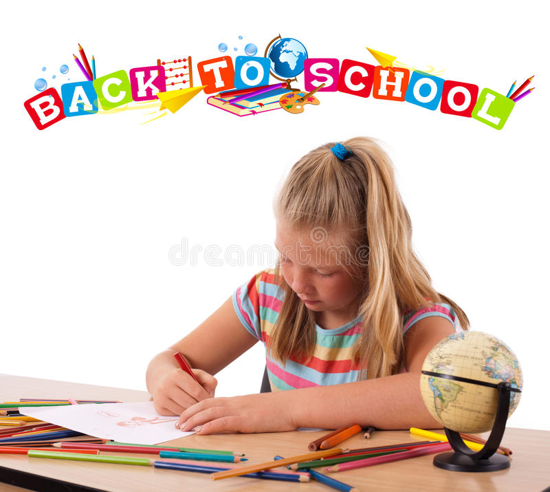 Kid with back to school theme isolated on white royalty free stock photo