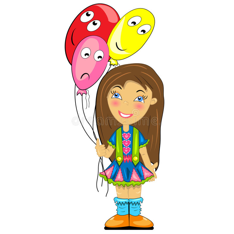 Download Kid With Balloon. Baby Girl At Birthday Party Stock Vector - Image: 22360605