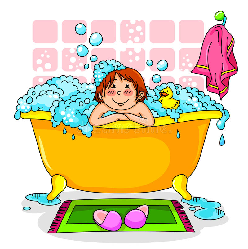 Kid in the bath royalty free illustration