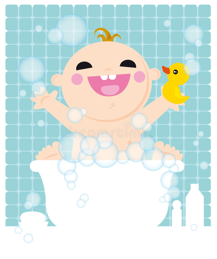 Kid in bath. Illustration of cuty baby in bathroom with duck and bubbles