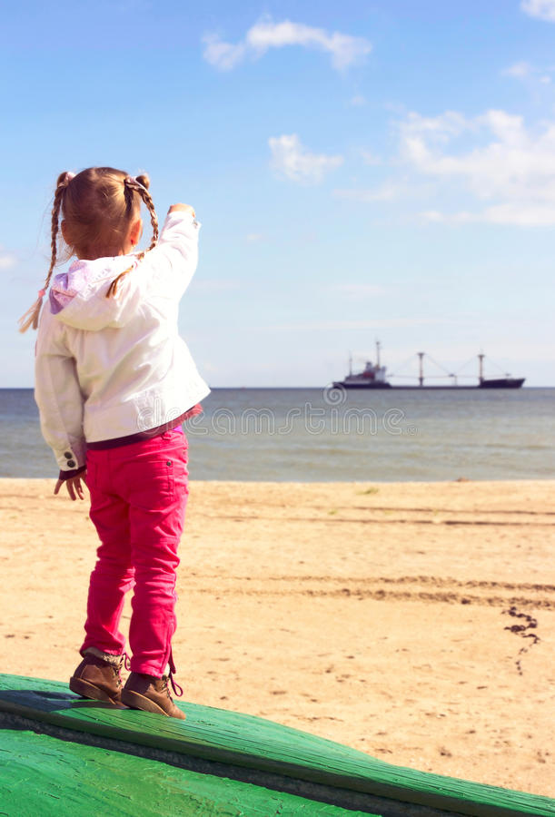 Kid on the beach. royalty free stock photos
