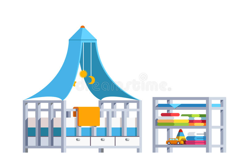 Kid bedroom with toddler crib, rack and toys. Modern minimalist design room interior with toddler crib, rack and toys. Kid bedroom decoration and furniture. Baby vector illustration