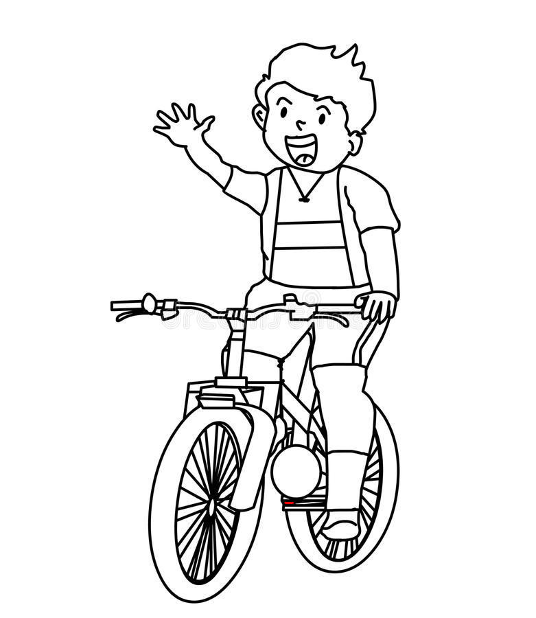 Kid In Bicycle Coloring Page Stock Illustration ...