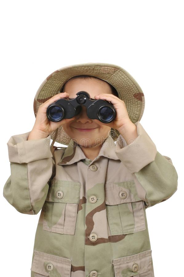 Kid and binoculars royalty free stock images