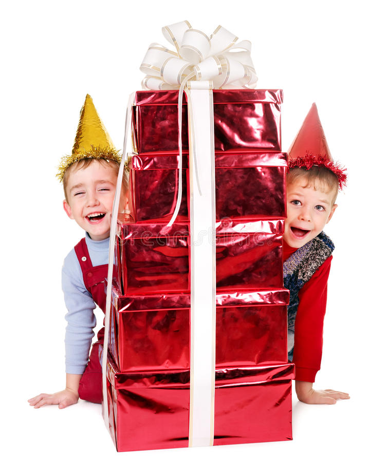 Download Kid With Birthday Gift Box. Stock Image - Image: 24371941