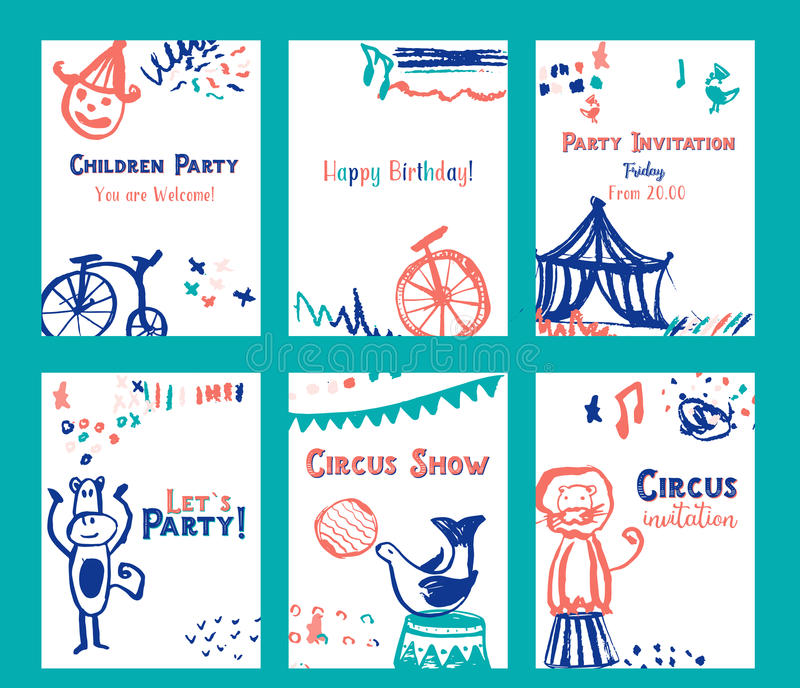 Kid birthday invitation card design set with circus elements vector download kid birthday invitation card design set with circus elements vector illustration stock vector illustration stopboris Images