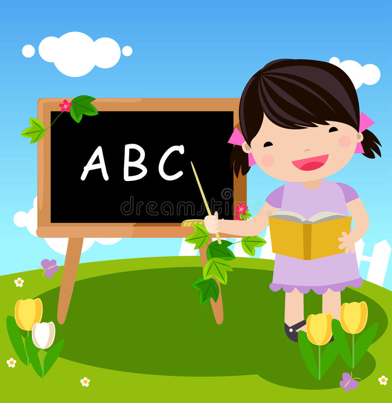 Download Kid and blackboard stock vector. Image of blue, daisy - 12913014