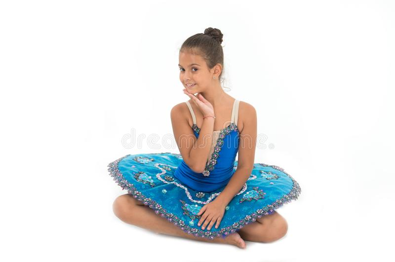 Kid blue dress with ballet skirt white background isolated. Child flexible pupil practice dancing. Child tender dancer. Look gorgeous fancy leotard. Dream of royalty free stock photos