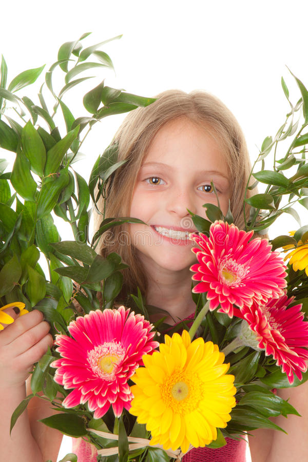 Download Kid With Boquet Of Flowers Stock Photography - Image: 29486842