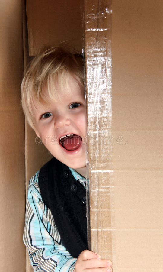 Download Kid in the box stock image. Image of export, infant, cache - 21943761