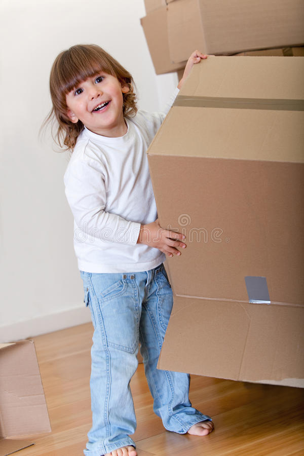Download Kid with boxes stock photo. Image of cardboard, move - 16816140