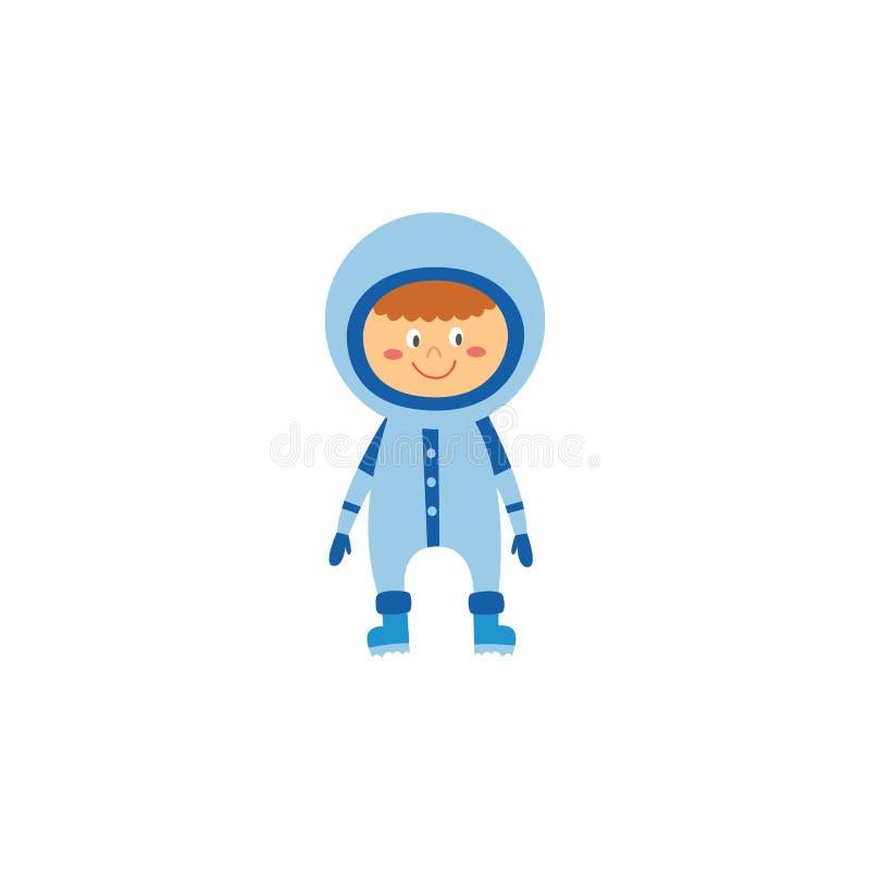 Kid boy astronaut or cosmonaut cartoon character flat vector illustration isolated. vector illustration