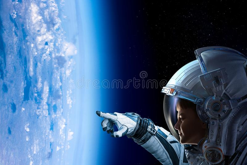 Exploring outer space. Mixed media royalty free stock photos