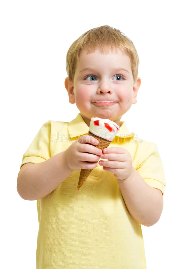 Download Kid Boy Eating Ice Cream With Pleasure Isolated Stock Image - Image: 38261557