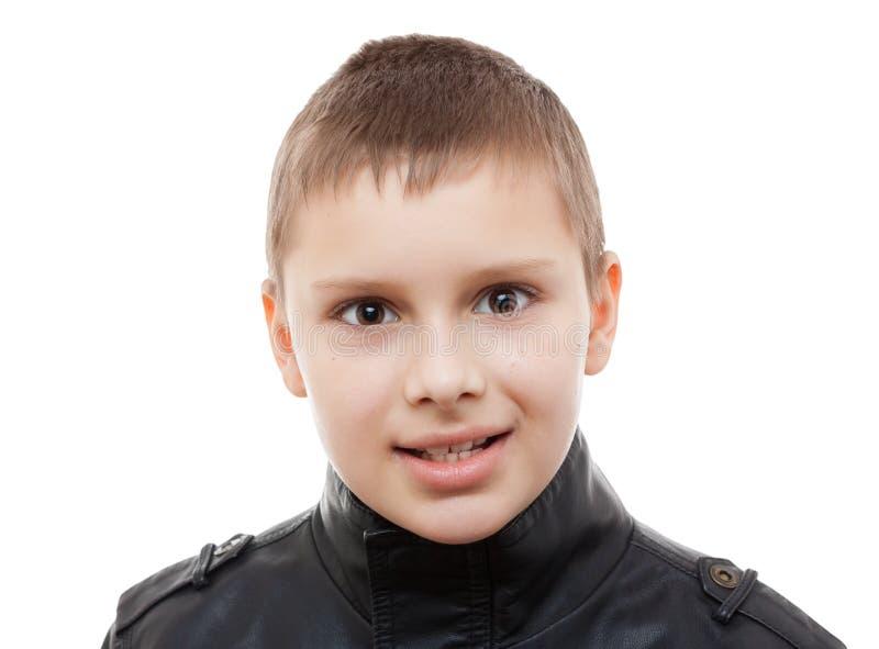Kid boy eyes closeup portrait studio isolated stock photography
