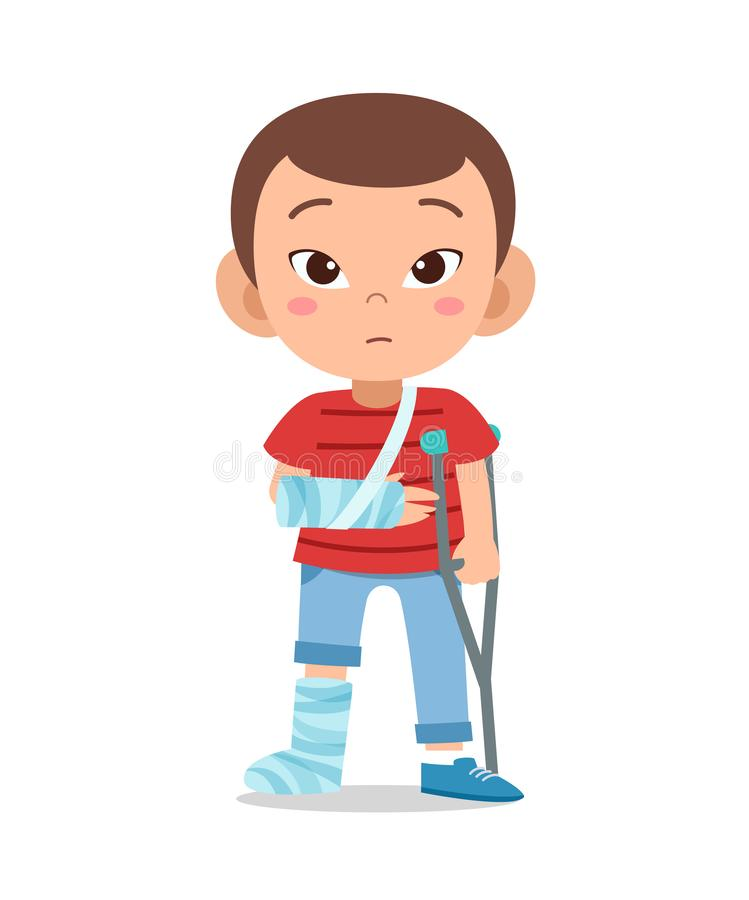 kid boy with fracture leg vector royalty free illustration