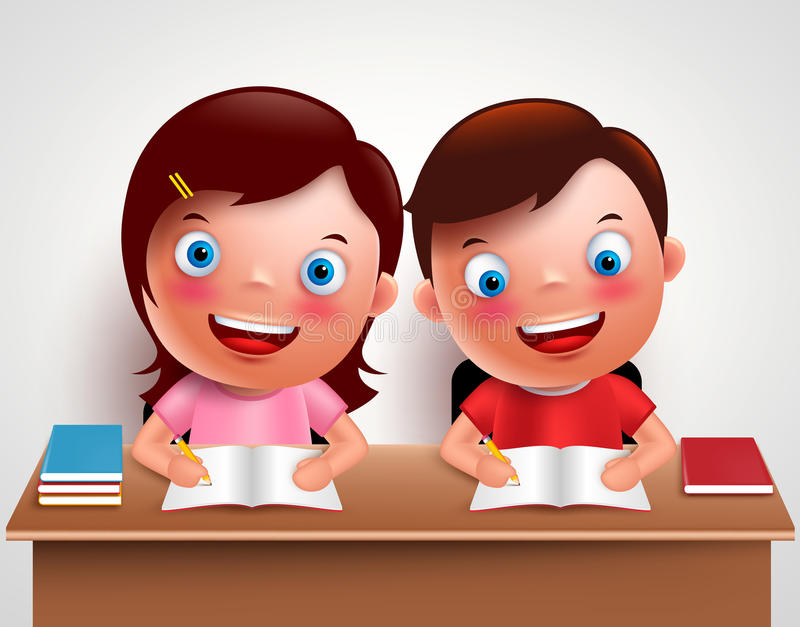 Kid boy and girl vector characters studying together doing homework. And writing notes in desk table with white background. Vector illustration vector illustration