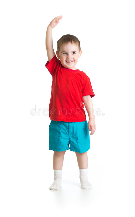 Kid boy growing. Isolated on white. royalty free stock photography