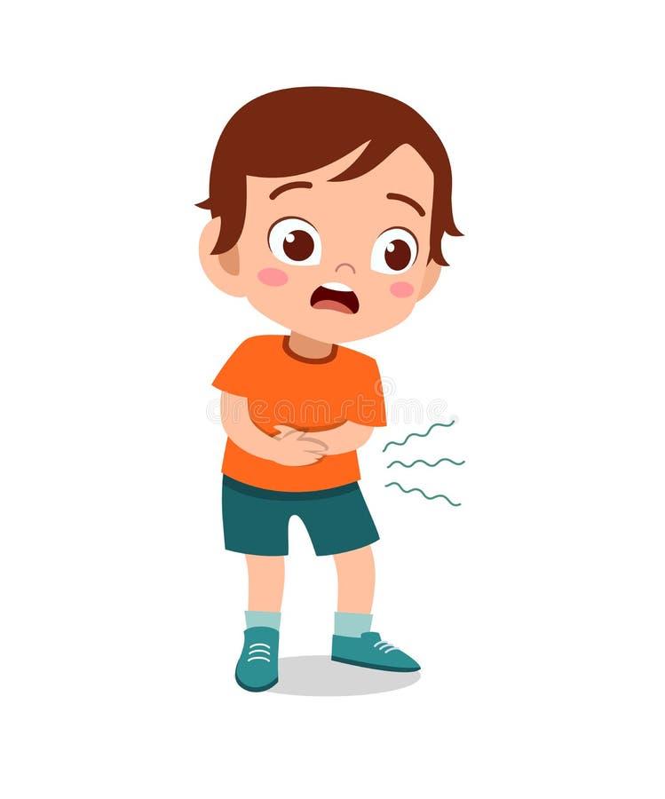 kid boy having stomachache  stock illustration
