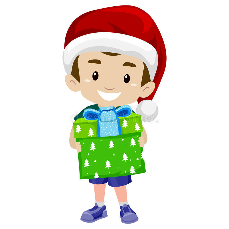 Kid Boy Holding a Christmas Gift. Vector Illustration of Kid Boy Holding a Christmas Gift stock illustration