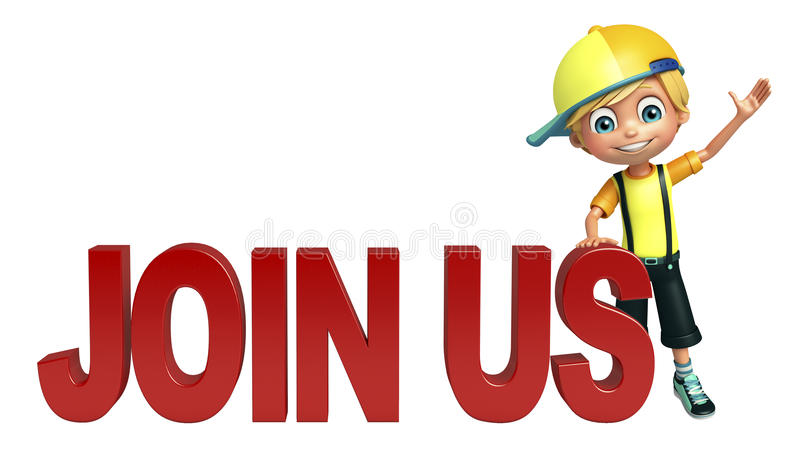 Kid boy with join us sign. 3d rendered illustration of kid boy with join us sign royalty free illustration