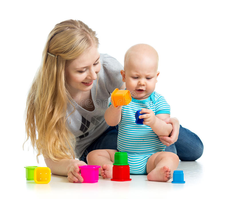 Kid Boy And Mother Playing Together With Toys Stock Image