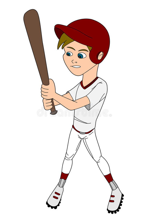Kid boy playing baseball cartoon stock image