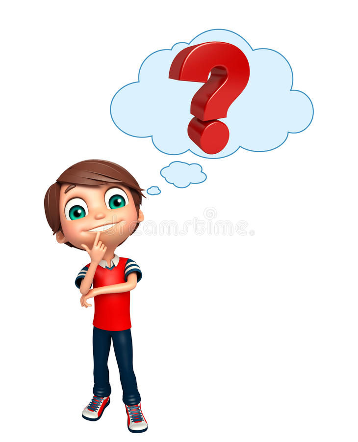 D Line Drawings Questions : Kid boy with question mark sign stock illustration