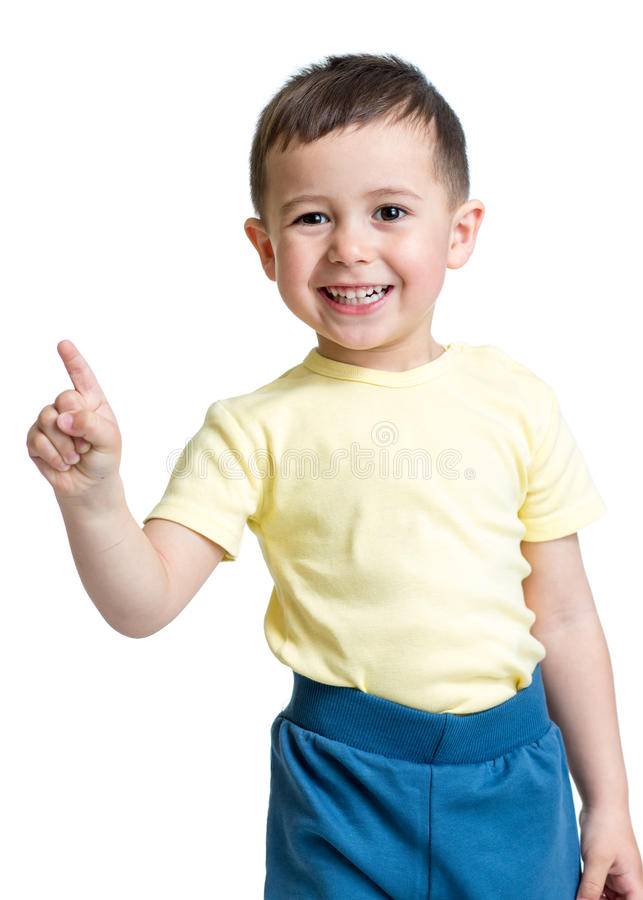 Kid boy showing the number one with hand stock image