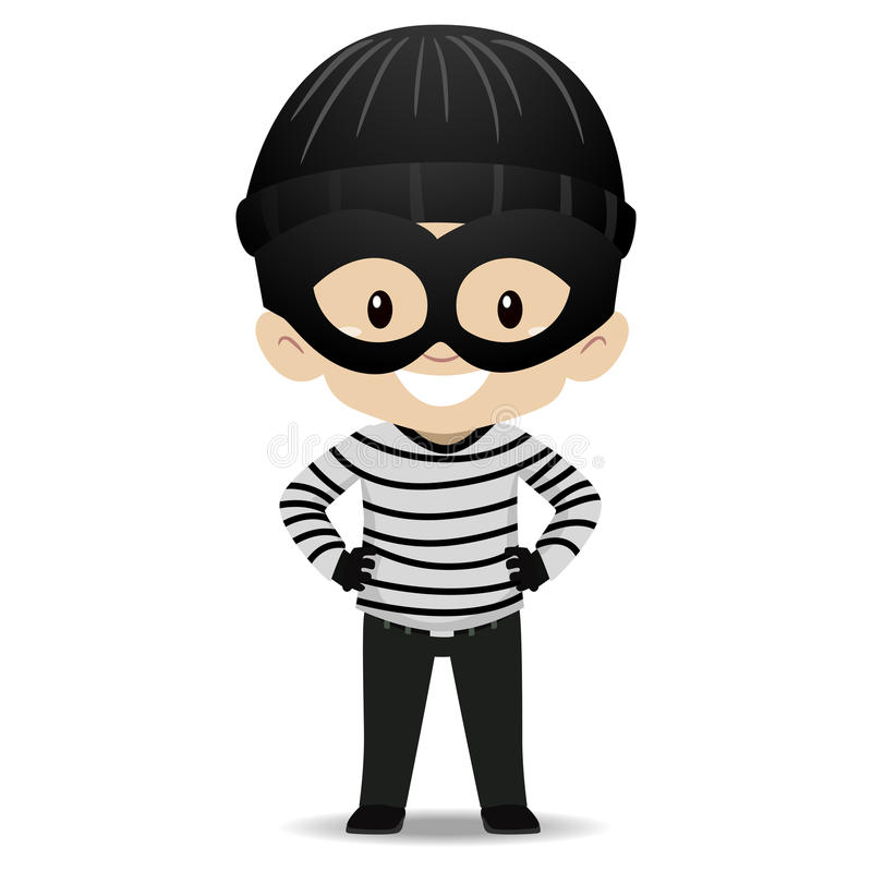 Kid Boy wearing a Burglar Costume royalty free illustration