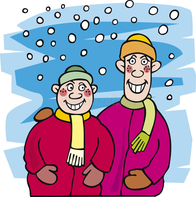 Download Kid brothers and snow stock vector. Image of illustration - 7181329