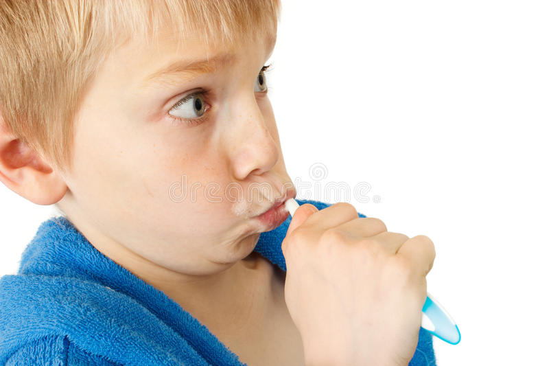 Kid Brushing Teeth Stock Photos