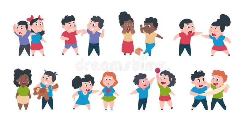 Kid bullying. Bad child behavior, scared and strong angry children conflict, cartoon characters confrontation. Vector. Bad young boy bullying royalty free illustration