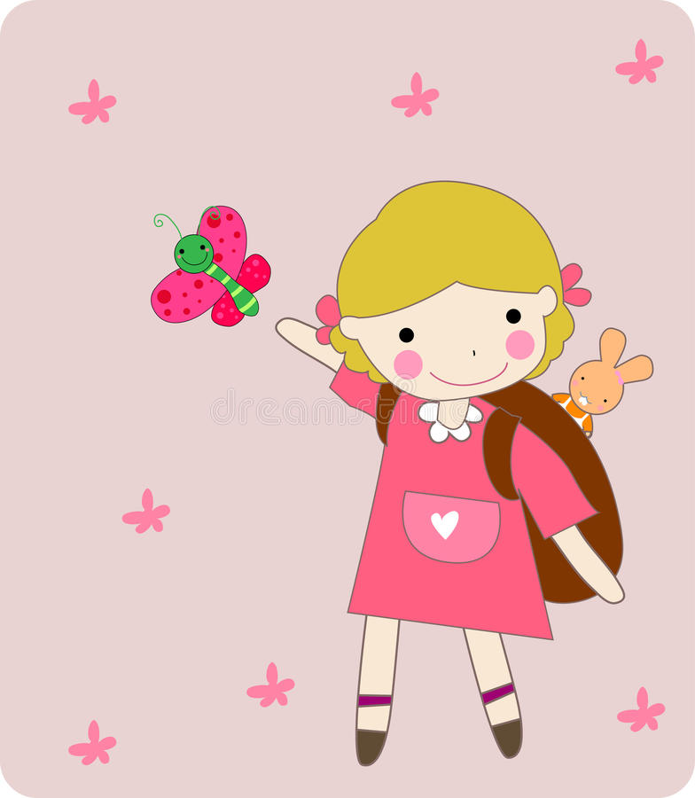 Download Kid and butterfly stock vector. Illustration of flower - 12073440