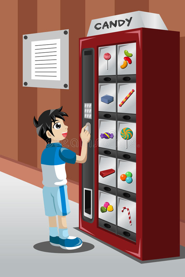 Kid Buying Candy From A Vending Machine Stock Vector ...