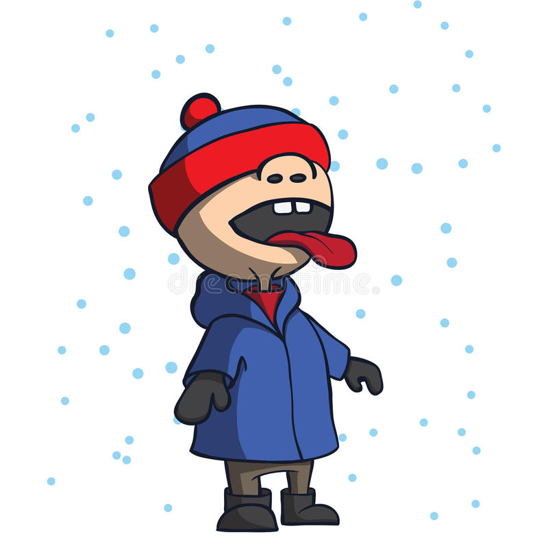 Kid catching and eating snowflakes. Cartoon vector royalty free illustration