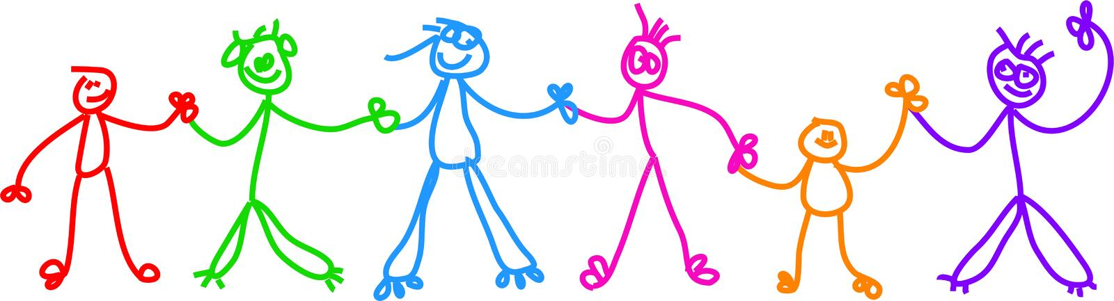 Kid chain. Childlike drawing of a group of diverse stick children holding hands royalty free illustration