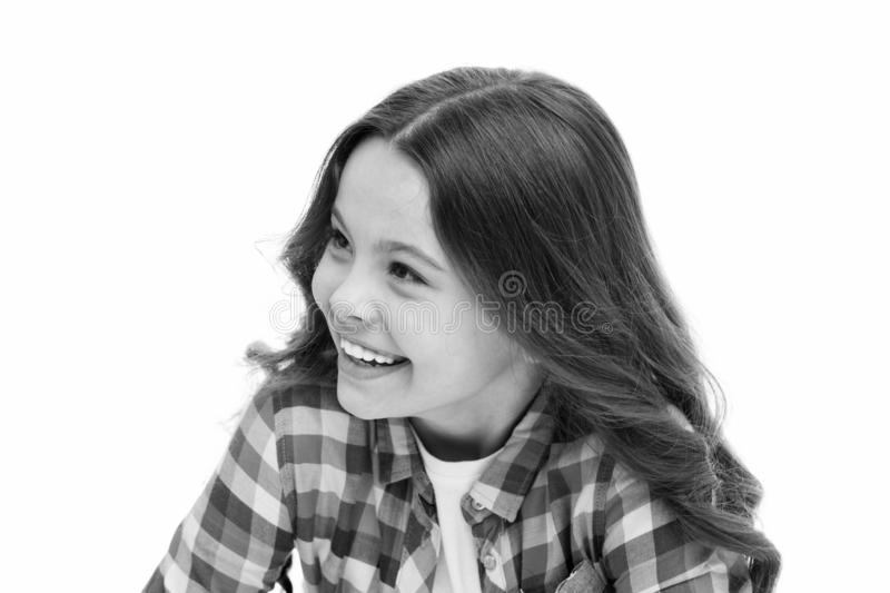 Kid with cheerful face and brilliant smile isolated on white. Emotions concept. Sincere emotional child. Girl laugh. Emotional face. Humor and react funny story stock photo