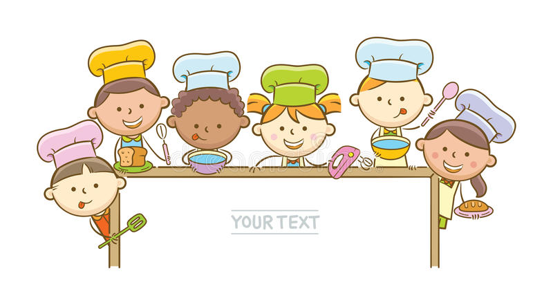 Kid Chefs And Whiteboard. Doodle illustration: Kid chefs showing horizontal blank whiteboard vector illustration
